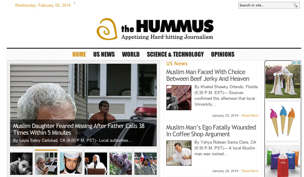 Screenshot of the website The Hummus.
