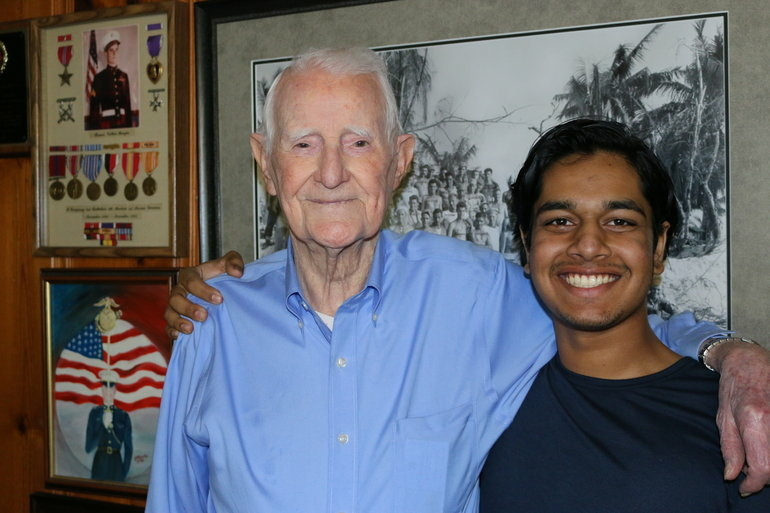 Rishi Sharma with R.V. Burgin. Burgin, a WWII Marine, saw heavy combat.