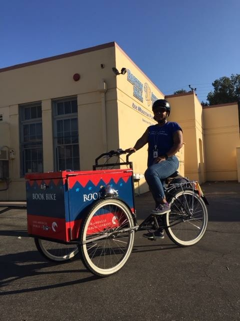 Children's librarian Ednita Kelly started the Los Angeles Public Library book bike program, delivering books to elementary schools in San Pedro.