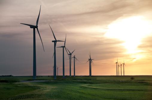 Wind turbines on Oklahoma wheat field.