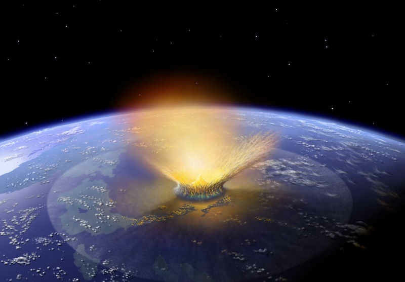 Artist concept of giant asteroid impacting Earth