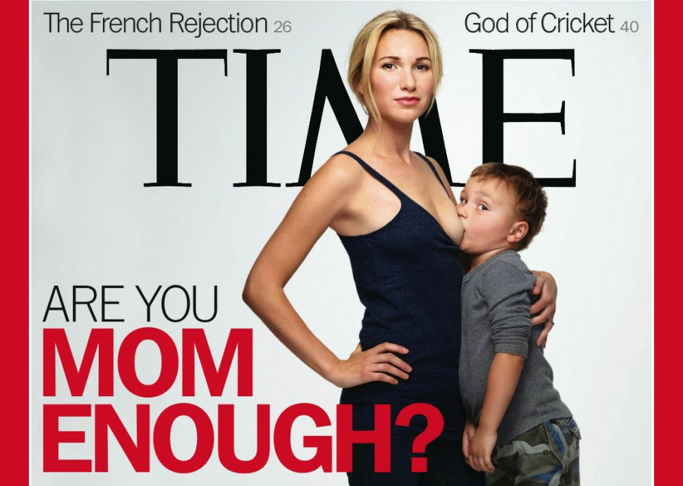 Los Angeles mother Jamie Lynne Grumet poses with her son Aram as shown on the cover of Time magazine.