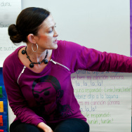 Kindergarten teacher Christina Jacquez teaches Maya numbers one through 20 to her class on Dec. 5, 2012.