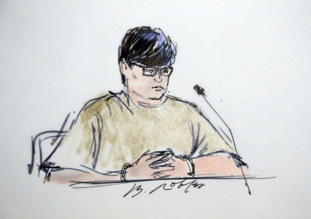 In this courtroom sketch, Enrique Marquez appears in federal court in Riverside, Calif., Thursday, Dec. 17, 2015.