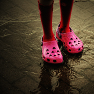 rain flood storm pink crocs