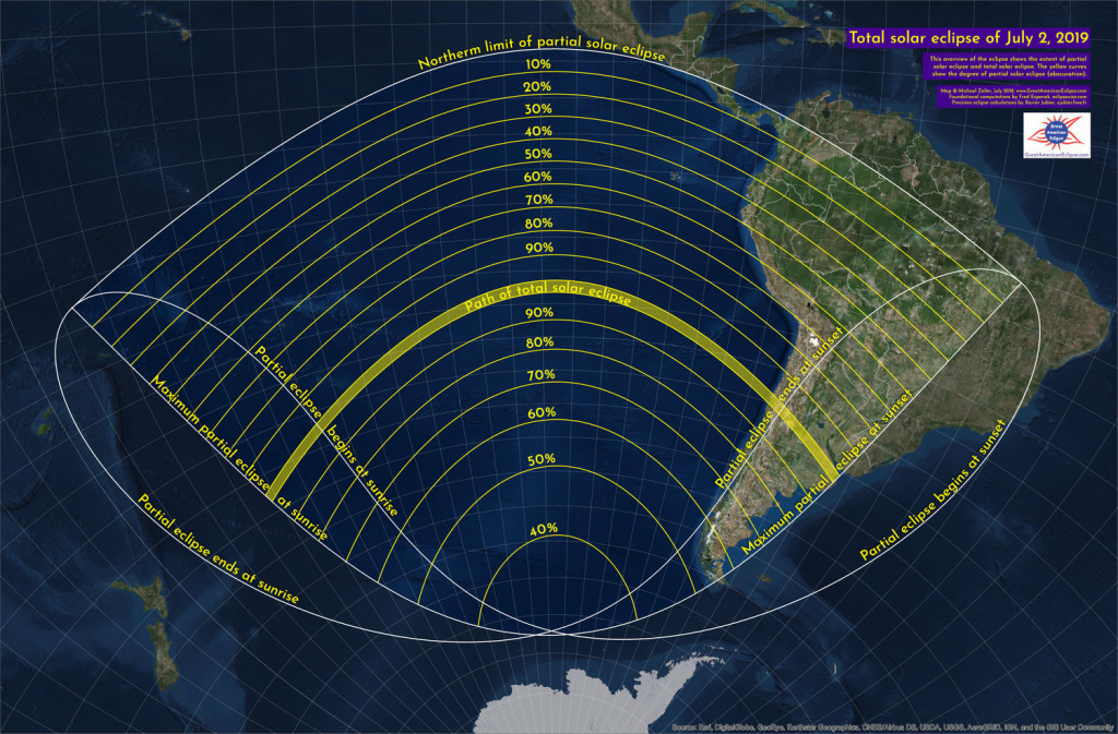 This graphic shows the path of the solar eclipse on July 2 and how much you can see from different places. The yellow band represents the path of totality, or the areas in which a total eclipse will be visible. Other areas will be able to see a partial solar eclipse.