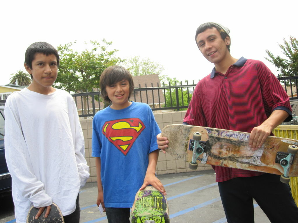 L.A. Unified shut down for its first district-wide furlough day. The Fernandez brothers, Kevin, right, Angel, and Victor attend district schools and spent the day skating.