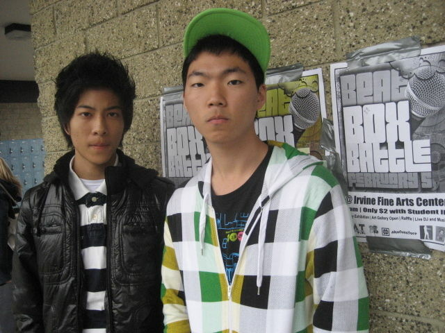 Eric Liu, left, and Moonsoo Jo are students at University High School in Irvine who want to put the city on the beatbox map.