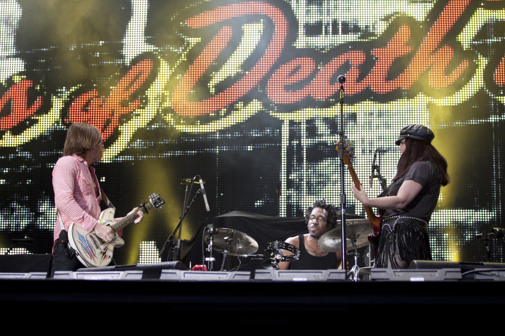 In this file photo, Eagles Of Death Metal performs at the Voodoo Festival at City Park, New Orleans, Louisiana, on Oct. 30, 2010. The California band appeared on stage in Paris during a concert by U2 on Monday night.