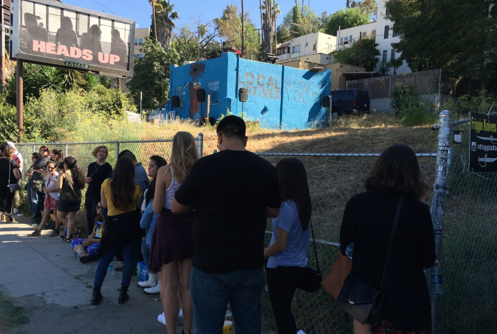The crowd outside of Local Natives' impromptu performance on top of its practice space in Silver Lake.