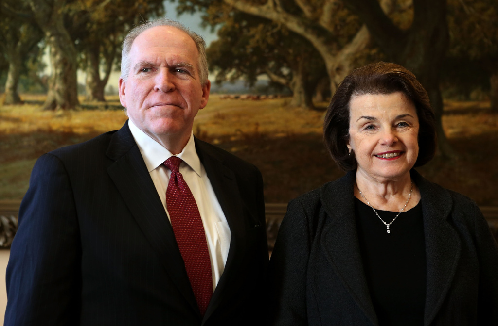 CIA director John Brennan, then the President's nominee for the position, meets with U.S. Senate Select Committee on Intelligence Chairman Dianne Feinstein (D-CA) at Feinstein's office at Hart Senate Office Building January 31, 2013 on Capitol Hill in Washington, DC.