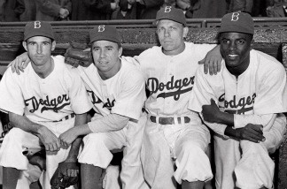 From left are Brooklyn Dodgers' John Jorgensen, Pee Wee Reese, Ed Stanky and Jackie Robinson, in an April 15, 1947 file photo.