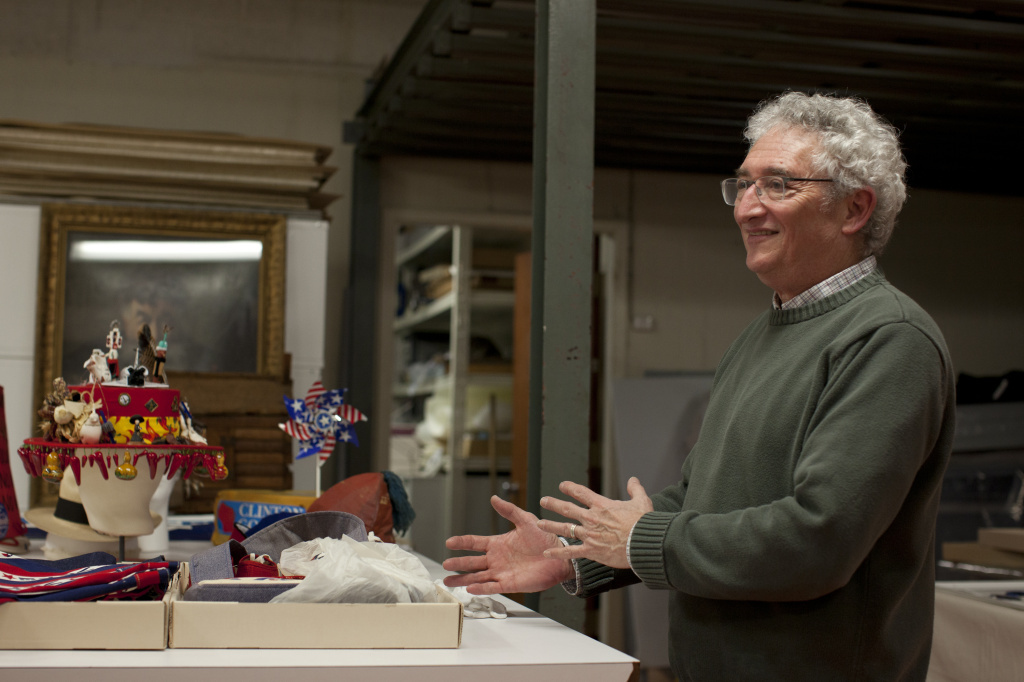 Harry Rubenstein talks about memorabilia from different presidential campaigns at the National Museum of American History in Washington, D.C.