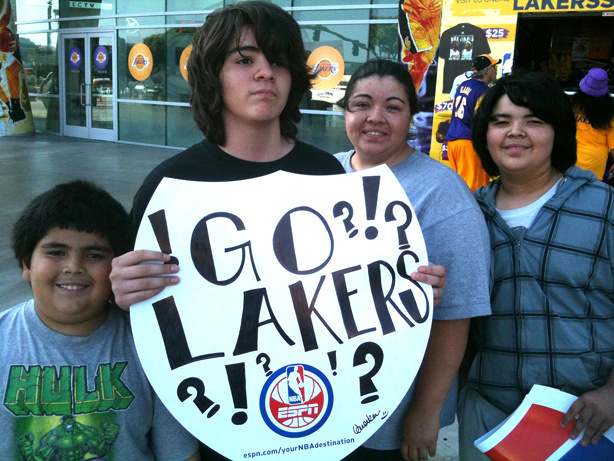 The Pulido family of South Los Angeles cheers for the home team at Staples Center on Thursday, June 3, 2010. David, from left, Anthony, Mom Chantelle and Paul.