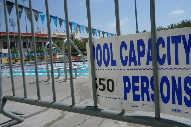 This pool at the Expo Center at Exposition Park is operated year-round by Los Angeles city Recreation and Parks Department.