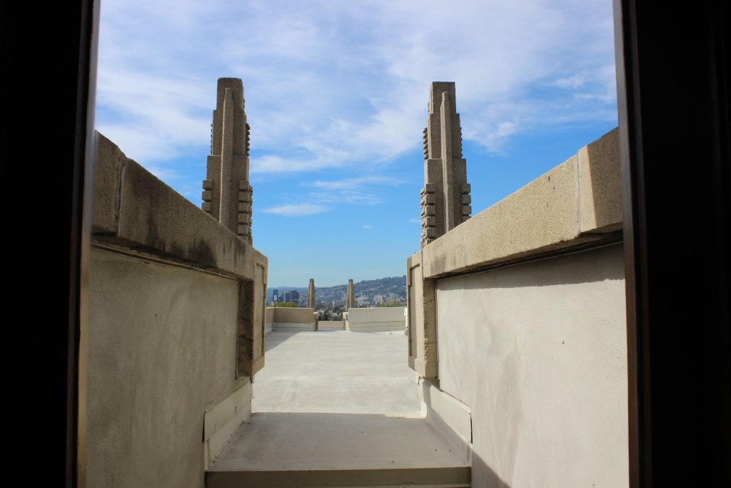 Hollyhock House dominates the top of a hill in East Hollywood from which you could see the Pacific Ocean on a clear day.