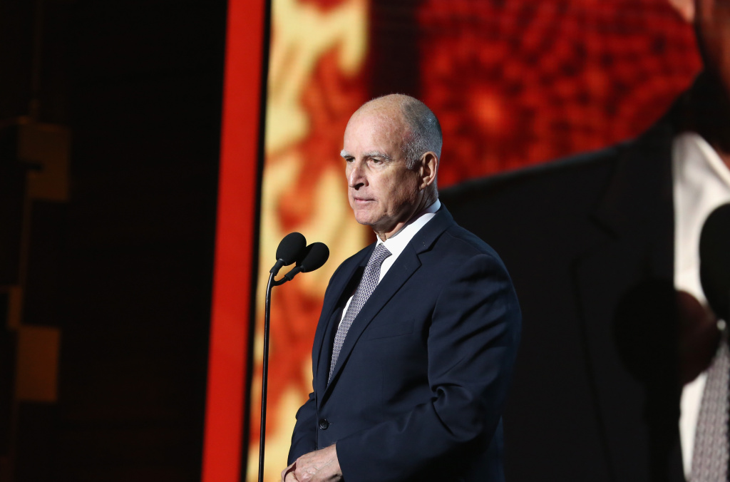 File: California Gov. Jerry Brown speaks onstage during the launch of the Parker Institute for Cancer Immunotherapy, a collaboration between the country's leading immunologists and cancer centers, on April 13, 2016 in Los Angeles.
