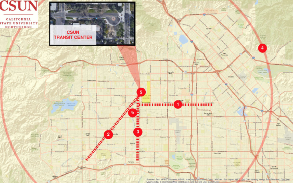 A map corresponding to the priorities outlined to improve the San Fernando Valley's transit system.