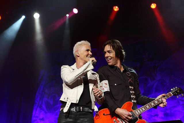 Marie Fredriksson and Per Gessle of the band Roxette performing in Sydney, Australia on February 17, 2012.