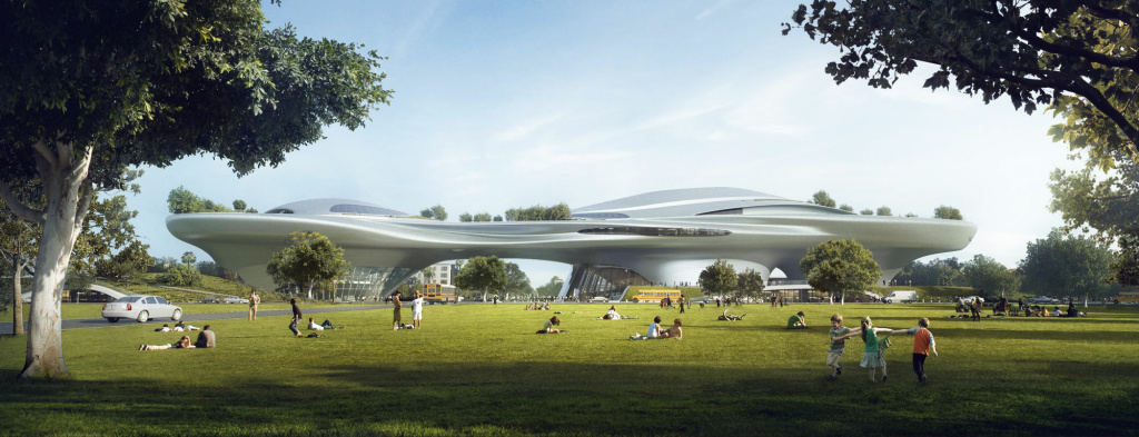 Concept design rendering of the Lucas Museum of Narrative Art in Los Angeles.