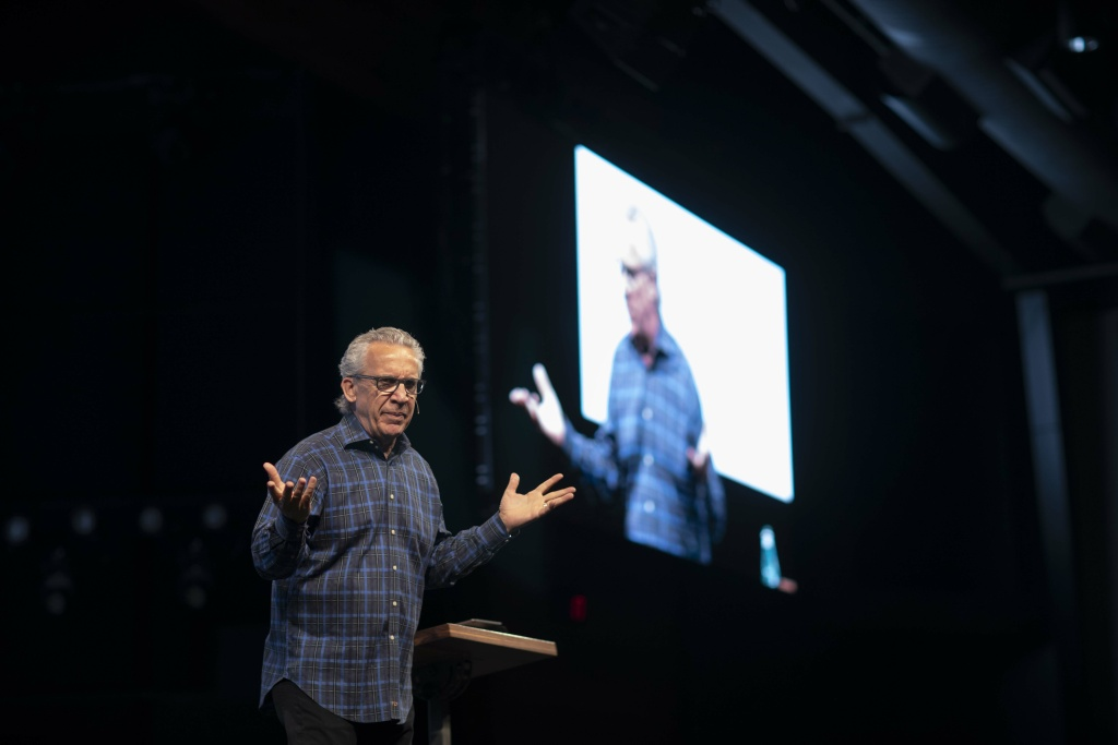 Bill Johnson, senior leader of Bethel Church in Redding, delivers a sermon during Sunday service on April 28, 2019.