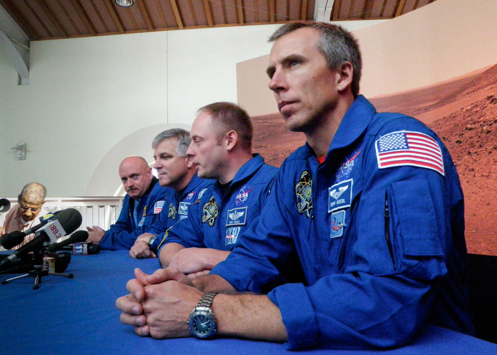 Astronauts (from right to left) Drew Feustel, Mike Fincke, Greg Johnson and Commander Mark Kelly speak about their journey on the Space Shuttle Endeavour at the California Science Center on Tuesday.