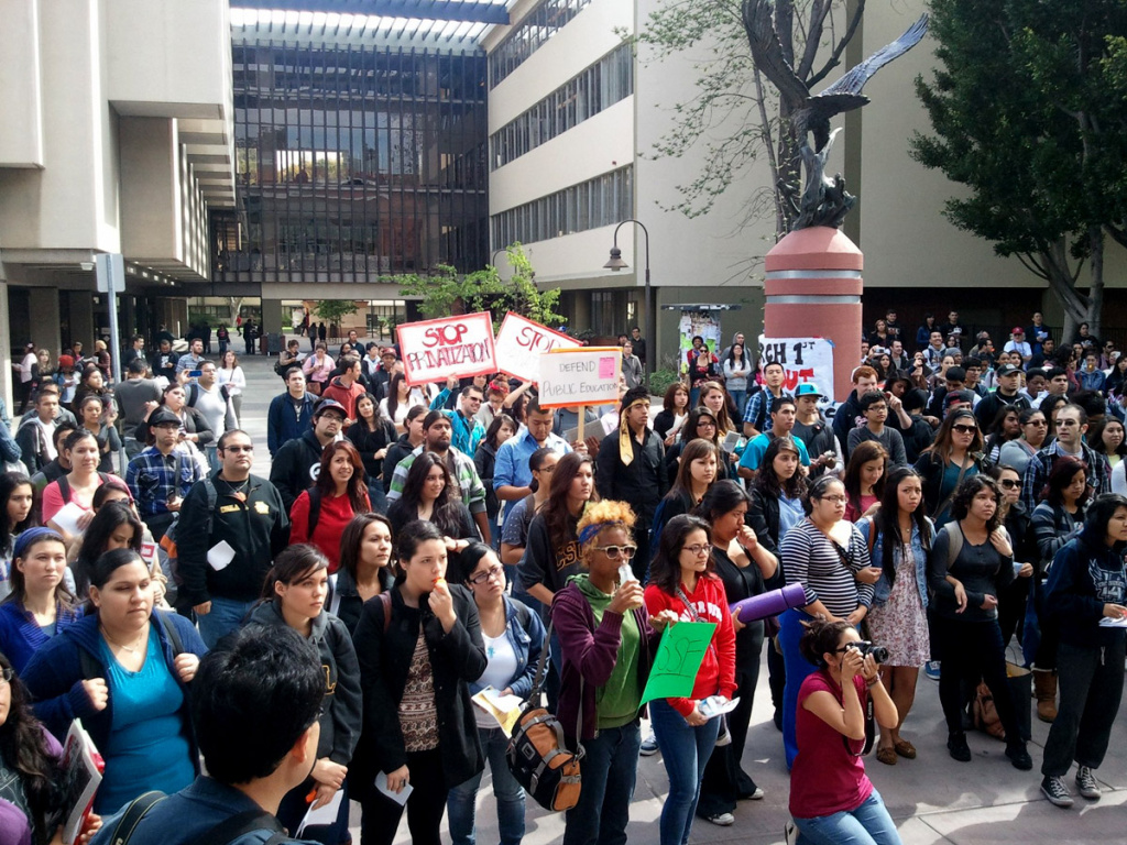 Students gather in a morning rally at Cal State Los Angeles to protest tuition hikes, March 1, 2012.