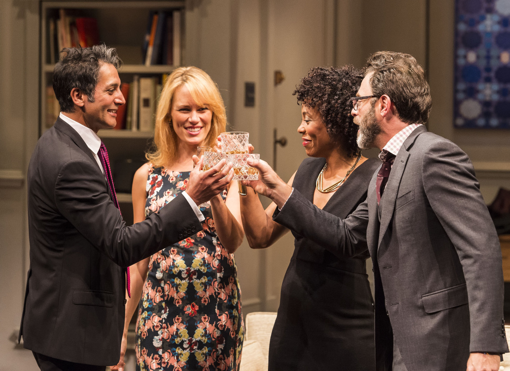"L-R: Hari Dhillon, Emily Swallow, Karen Pittman and J Anthony Crane in Ayad Akhtar's Pulitzer Prize-winning play, ""Disgraced,"" which is at the Mark Taper Forum through July 17."