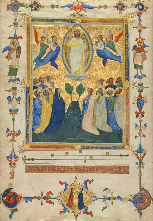 The Ascension of Christ from the Laudario of Sant'Agnese, about 1340, Pacino di Bonaguida. Marc Haefele says,