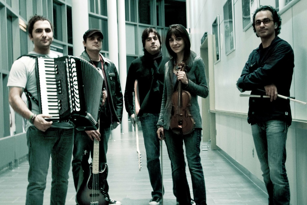 Promotional still of the Iranian band, Kiosk.