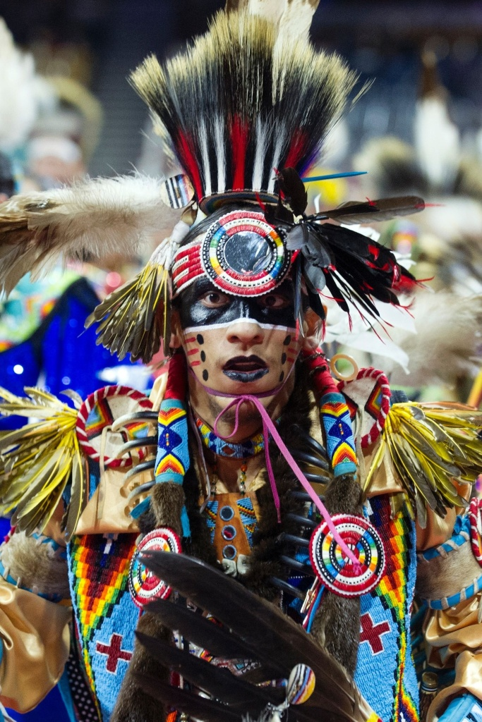 Ziggy Williams of the Navajo Nation dances during the Grand Entry of the Denver March Powwow on March 24, 2017 in Denver, Colorado. In the Navajo tradition it is believed that the