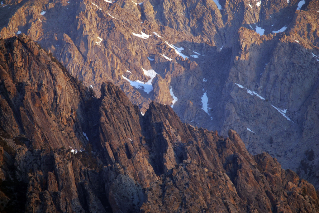Alpine crags rise north of Mount Whitney, the tallest peak in the continental US at 14,494 feet, in the Sierra Nevada Mountains, which carry less snow than normal, on May 9, 2008 near Lone Pine, California.