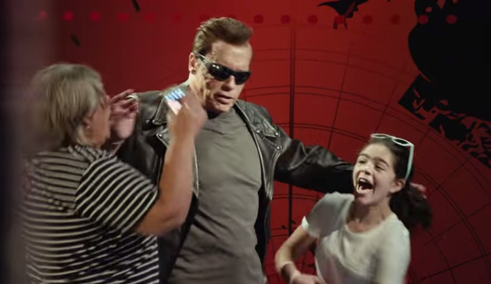 Arnold Schwarzenegger made a surprise appearance — literally — on the streets of Hollywood as the Terminator, dropping lines from his film and terrifying fans at Madame Tussaud's Wax Museum by coming to life during their selfie shots.