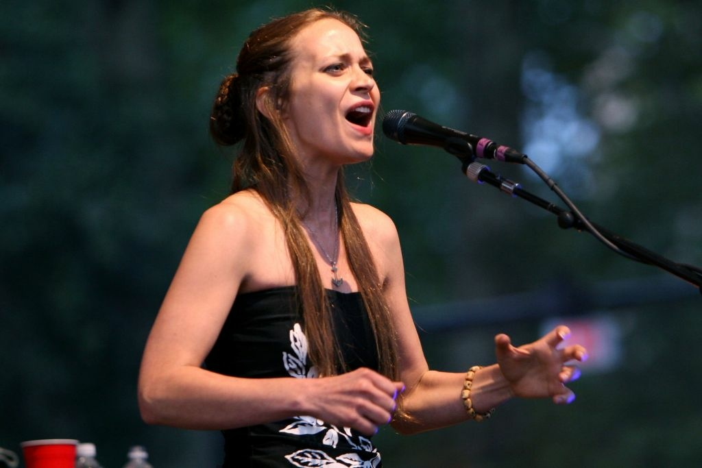 Musician Fiona Apple performs live in Central Park.