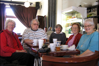 Riverside resident Darline Miller (center) with See's Coffee long-timers.