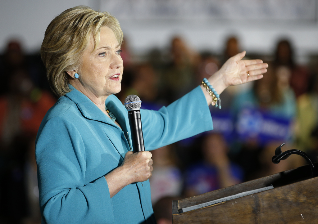 Democratic presidential candidate Hillary Clinton speaks at an International Brotherhood of Electrical Workers training center, Tuesday, May 24, 2016, in Commerce, California.