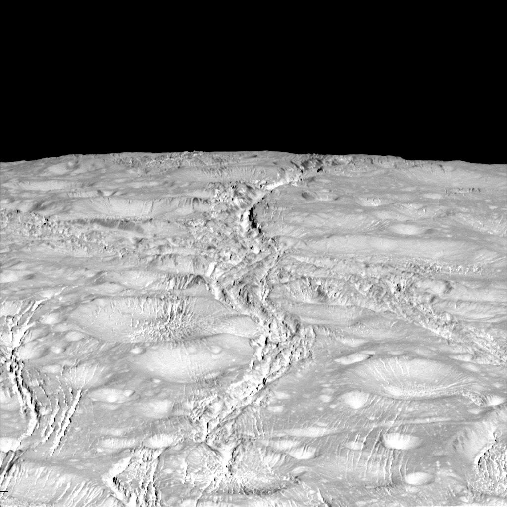 NASA's Cassini spacecraft zoomed by Saturn's icy moon Enceladus on Oct. 14, 2015, capturing this stunning image of the moon's north pole. Scientists expected the north polar region of Enceladus to be heavily cratered, based on low-resolution images from the Voyager mission, but high-resolution Cassini images show a landscape of stark contrasts. Thin cracks cross over the pole, the northernmost extent of a global system of such fractures. Before this Cassini flyby, scientists did not know if the fractures extended so far north on Enceladus. The image was taken in visible green light with Cassini's narrow-angle camera. The view was acquired at a distance of approximately 4,000 miles from Enceladus.