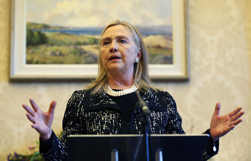 US Secretary of State Hillary speaks at a news conference during her visit to Stormont Castle in Belfast, Ireland on December 7, 2012. It was one of her last official acts before being hospitalized.