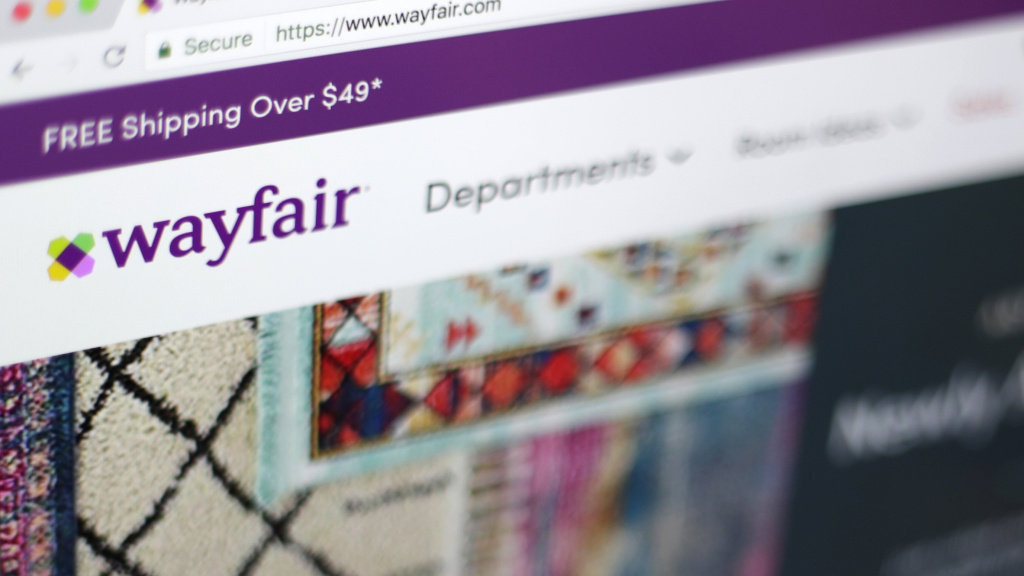 Photo shows the Wayfair website on a computer in New York.