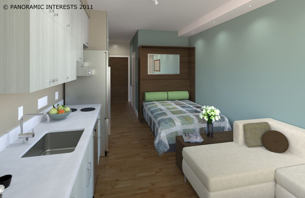 Rendering of the Smartspace Soma interior of queen room with bed shown.