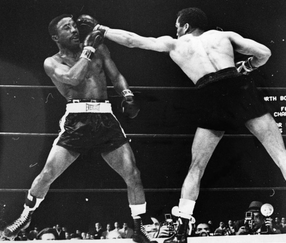"Davey Moore and ""Sugar"" Ramos boxing at Dodger Stadium, March 21, 1963. Moore was killed that night."