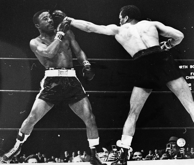 Davey Moore and 'Sugar' Ramos boxing at Dodger Stadium, March 21, 1963. Moore was killed that night.