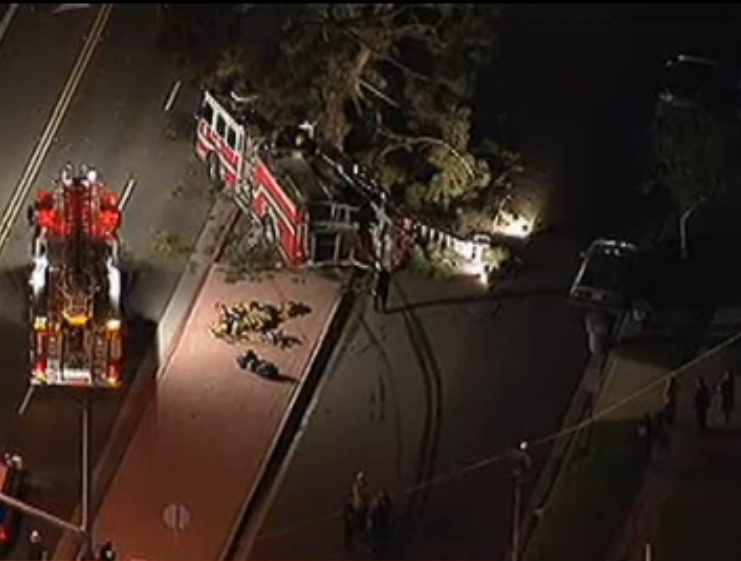 A screen shot from video shot by a helicopter of an accident involving a fire truck in Orange County on March 13, 2013.