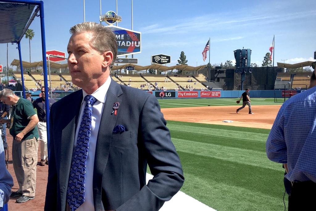 Orel Hershiser at the Dodgers home opener on April 12, 2016.
