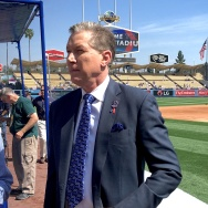 Orel Hershiser at the Dodgers home opener on April 12, 2016.