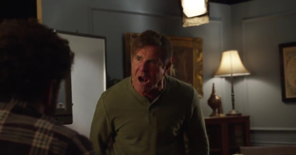 Dennis Quaid on a Funny Or Die set for a hoax video where he had appeared to freak out on his crew.
