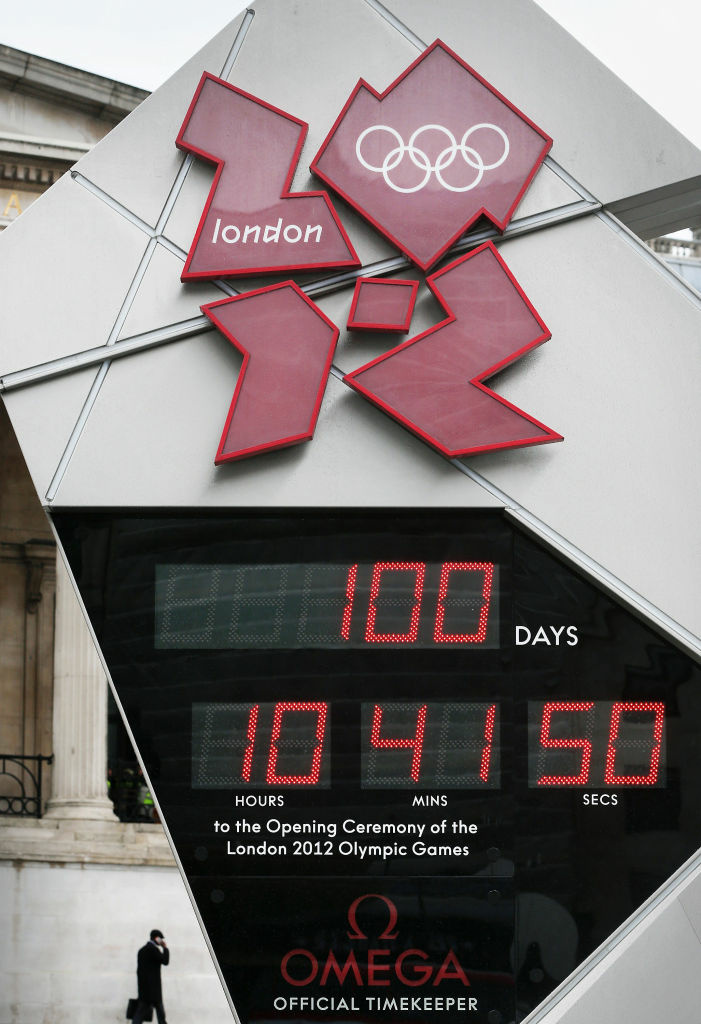 The London 2012 Olympic countdown clock shows 100 days to go in Trafalgar Square on April 18, 2012 in London, England. The opening ceremony of the games will take place on July 27, 2012.