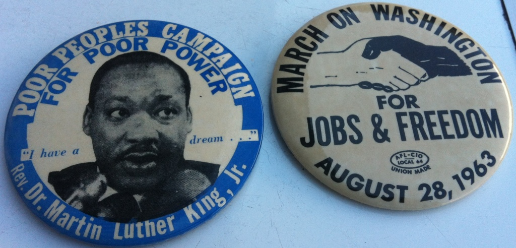 Buttons collected by Zelde Malevitz when she attended the March on Washington that she still keeps in her jewelry box at her home in Los Angeles.