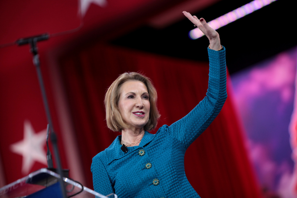 Carly Fiorina speaking at the 2015 Conservative Political Action Conference (CPAC) in National Harbor, Maryland.