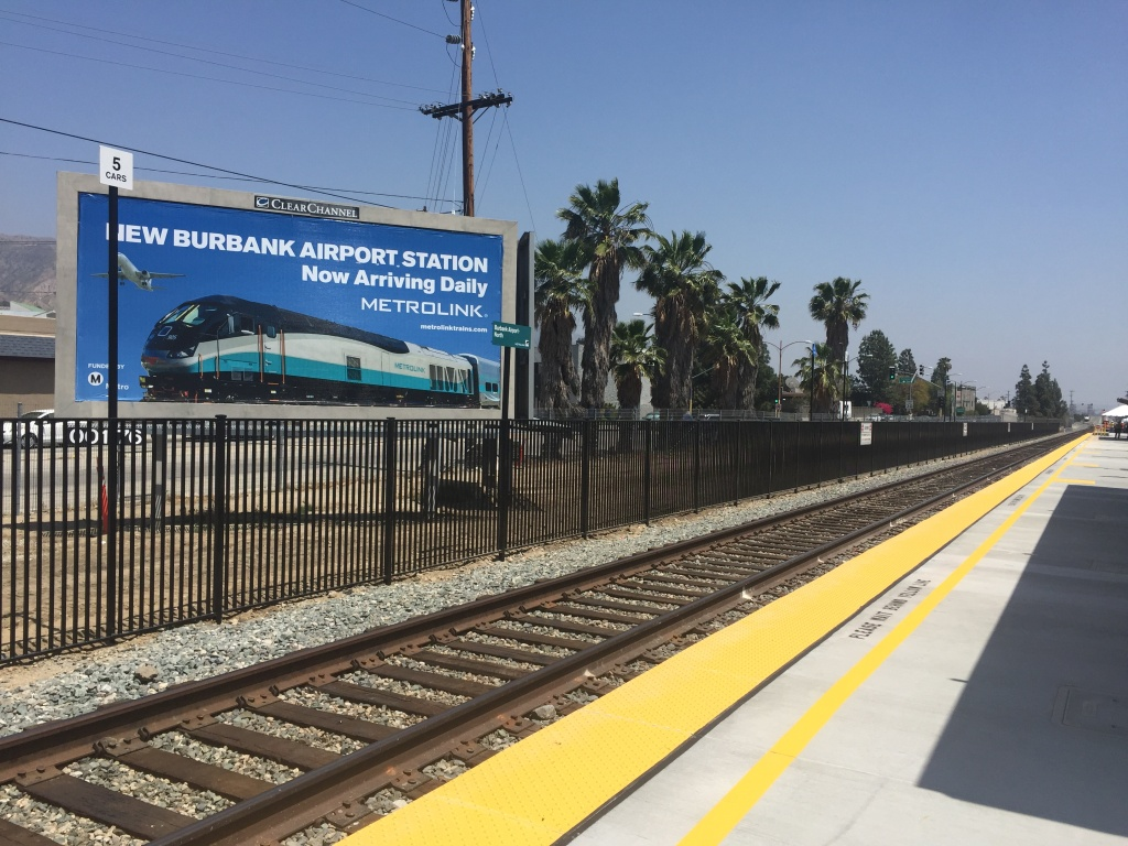 A new station on the Metrolink Antelope Valley Line will serve the Hollywood Burbank Airport. A shuttle will take passengers to the terminal until the completion of a new one that will be within walking distance from the station.